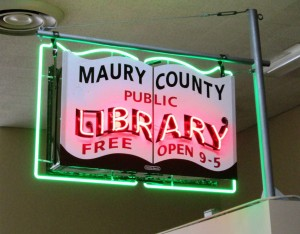 Maury County Public Library Restored Sign