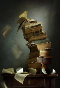 Book stack toppling